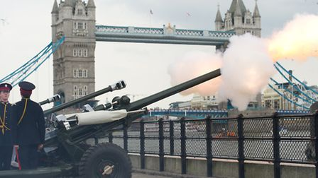 Honourable Artillery Company Royal Gun Salute at the Tower of London to celebrate the birth of Their