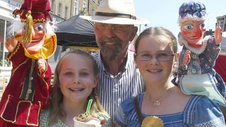 Millie Isabelle with John Wood and Punch and Judy. Pic: Tony Gay