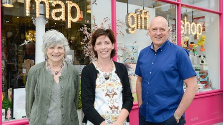 Cllr Janet Burgess, deputy leader of Islington Council, with Kathryn Phalp and Ian Morris, owners of