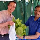 Cllr Paul Lorber with a succesful allotment holder