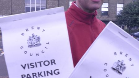 Cllr Paul Lorber with parking scratch cards