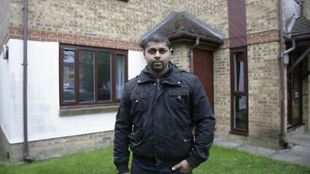 Manzar Juma outside the home he shared with Ruby Love in Wembley (Pic cedit: Jan Nevill)