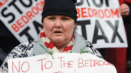 Members of the public protest against bedroom tax