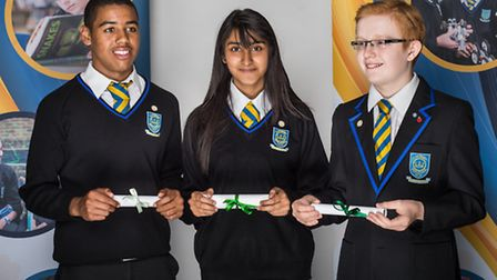 Joshua Machado, 13 , Jamini Bharadawa, 13 (Honour) and Aaron Stevens, 13 (Distinction). Photo: Steve
