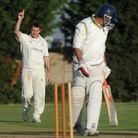 Rob Nelson takes a wicket against Harrow Town, as Brondesbury close in on promotion. Pic courtesy of