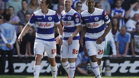 Karl Henry (right) and Joey Barton (left) celebrate together during Rangers' opening game of the sea