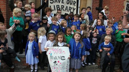 Children protest about the closure of Kensal Rise Library