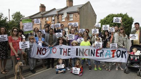 Campaigners have hel protests against plans for a giant incinerator.