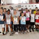 All the kids who took part in the summer workshop at All Stars Boxing Gym in Harrow Road with advanc