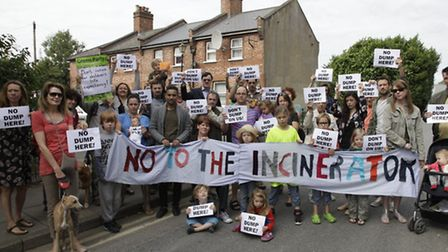 Protesters oppose plans for a giant incinerator
