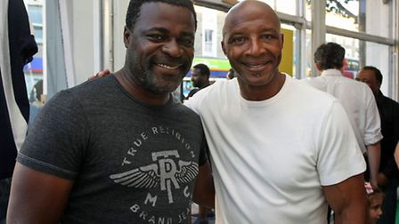 Cyrille Regis and Danny Sapani at the exhibition Pic: Peter Tarry