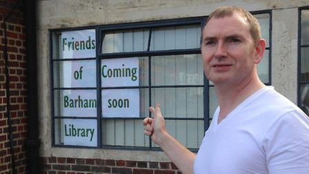 Francis Henry, Friends of Barham Library volunteer, outside the new branch