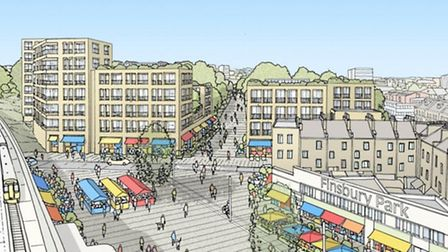 An artists impression of how the Finsbury Park town centre might look