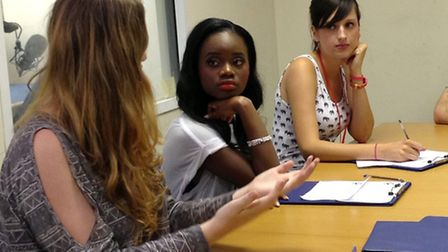 Singer A*M*E, centre, joined the team at Radio Northwick Park to promote youth volunteering