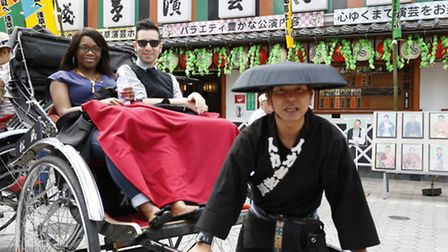 Lorraine King and Italian writer Rossano Me Lo Mele experiencing a tradtional rickshaw ride (Pic cr