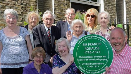 Highbury residents with Cllr Stacy (far right) and the new plaque