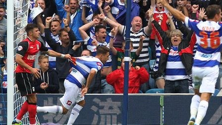 Tom Hitchcock (centre) celebrates his goal against Ipswich last weekend