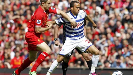 Andros Townsend in action for QPR against Liverpool on the final day of last season