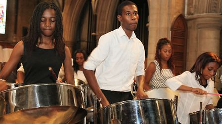 St Michael and All Angels Steel Band in rehearsals for the Notting Hill Carnival
