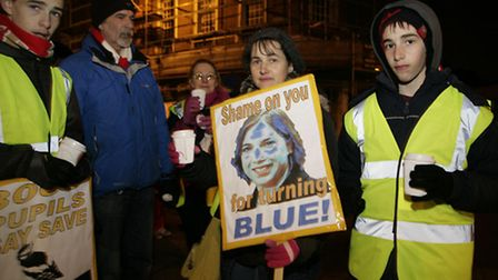 Demonstrators feel Sarah Teather has let them down since joining the government coalition