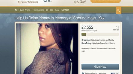 A website has been set up to raise funds for the future of Sabrina Moss' son