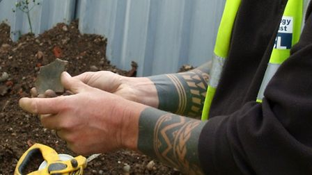Steve Chew showing an Iron Age pottery find