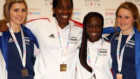 (l-r) Chloe Dixon, Leah King, Ayesha Fihosy and Katie Smith with their fencing individual foil medal