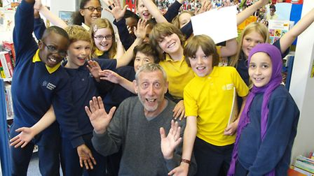 Michael Rosen at with pupils from Ashmount School