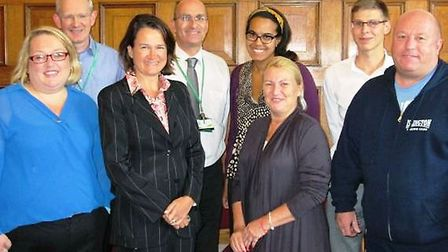 Pictured from left to right, front row: Liz Case (secretary, WPCA), Cllr Catherine West (leader of I