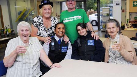 Pictured from left having a laugh with local PCSo's is Rita McKardy, Muna Lam, Natalie Jones, May El