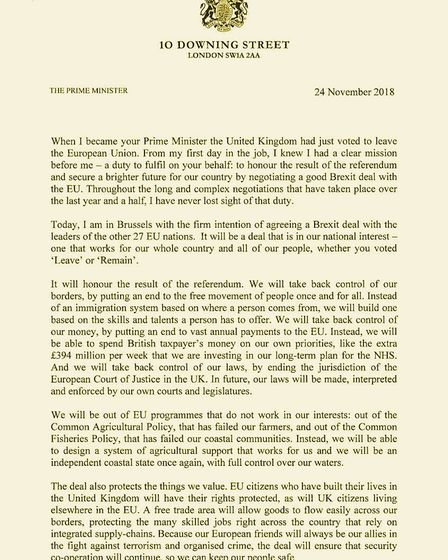 Theresa May's Brexit letter which was posted onto social media. Picture: Number 10