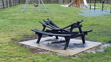 A picnic bench in Rosedale Park, Lowestoft, was found torched just a few months after it was put in
