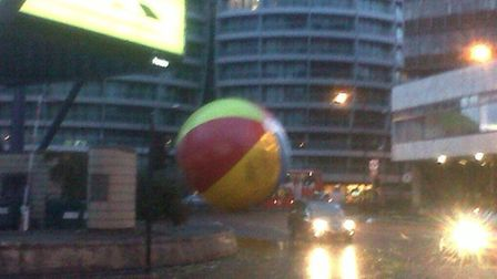 Giant beach ball loose at Old Street Roundabout via Twitter @Bern798