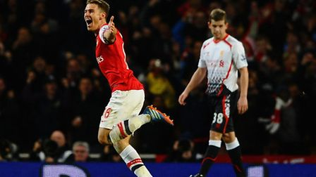 Aaron Ramsey celebrates his goal. Photo by Laurence Griffiths/Getty Images