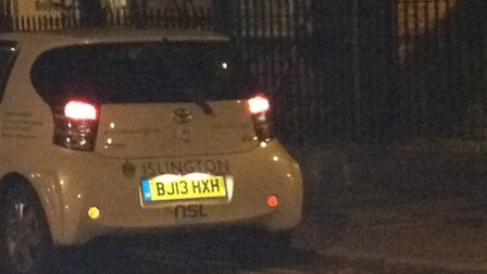 The council vehicle was seen parked on double yellow lines