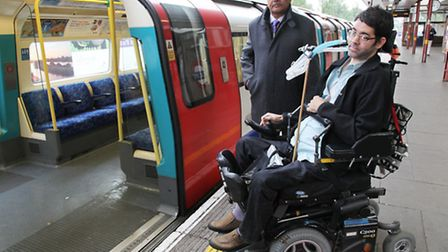 Wheelchair user Jeffrey Harvey, pictured with Navin Shah, is calling for the return of a ramp to Kil