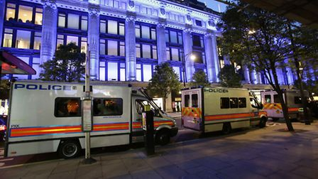Police vans at the scene of the smash and grab robbery in Selfridges, Oxford Street