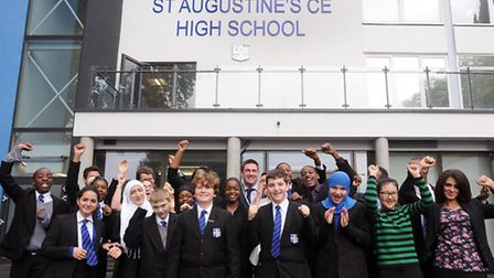 """St Augustine's CofE High School pupils celebrate their """"outstanding"""" Ofsted rating with headteacher"""