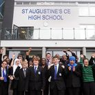 "St Augustine's CofE High School pupils celebrate their ""outstanding"" Ofsted rating with headteacher"