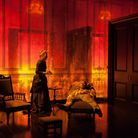 Lesley Manville as Helene Alving and Jack Lowden as Oswald in Ghosts at The Almeida Theatre