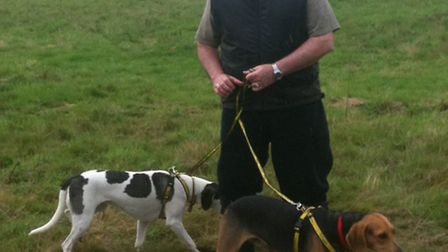 Adrian Ambroz with dogs Pat and Susie.
