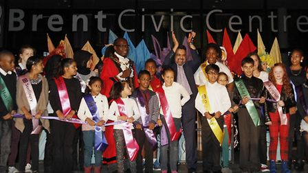 21 young ambassadors join Cllr Muhammed Butt and Bobby Thomas to declare the civic centre open (Pic