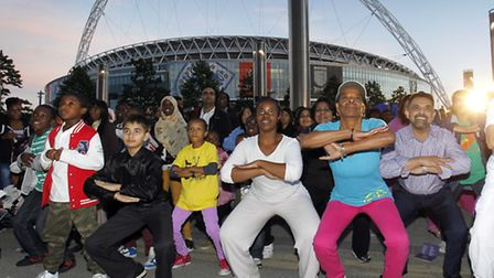 Cllr Muhammed Butt joins hundreds of people for mass Zumba (Pic credit: Helen Yates)