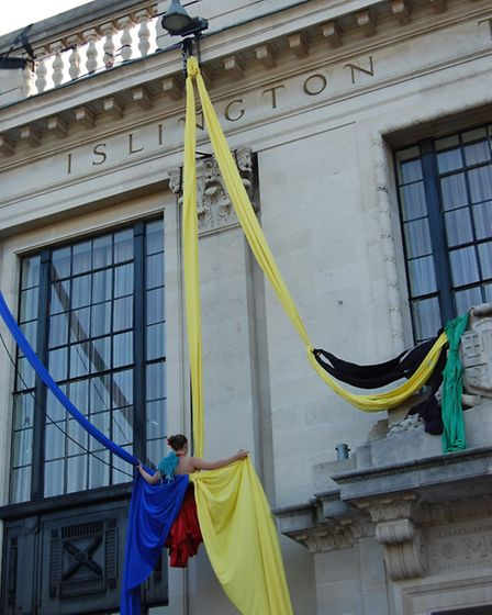 Scarabeus performing on the front of Islington Town Hall, as part of the borough's celebrations on O