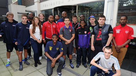 Abou Diaby (Arsenal) attends the opening of the exhibition to celebrate 100 years of Arsenal in Isli