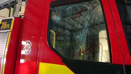 The damage caused to the Lowestoft South fire engine, which is being investigated by Lowestoft Polic