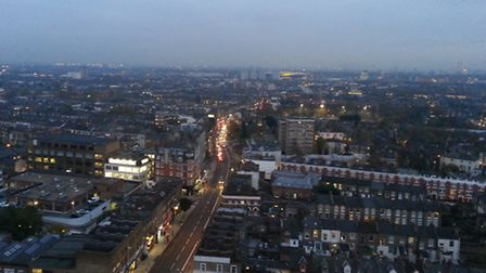 The view down Holloway Road towards the Emirates stadium from the top of the tower