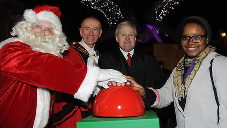Community hero Des McDaniel (centre right) at the big N1 Centre switch on Pic: Dieter Perry