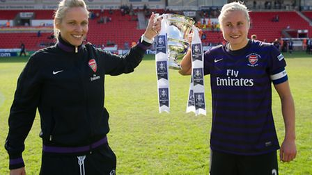 Steph Houghton and Shelley Kerr celebrate with the Women's FA Cup