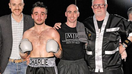 Charlie Rice (centre) flanked by manager Mickey Helliet (left) and trainer Barry O'Connell